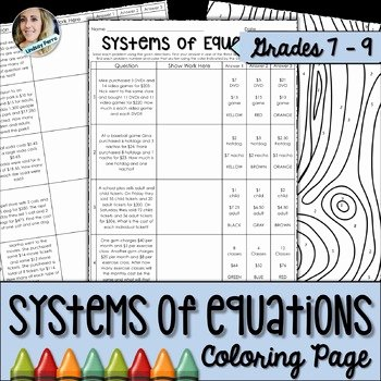 Systems Of Equations Worksheet Pdf Unique Systems Of Equations Coloring Worksheet by Lindsay Perro