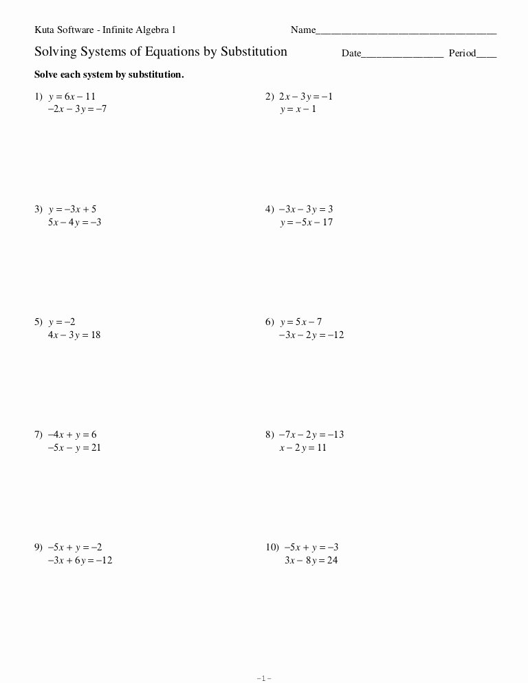 Systems Of Equations Worksheet Pdf Unique Systems Of Equations Substitution Worksheet