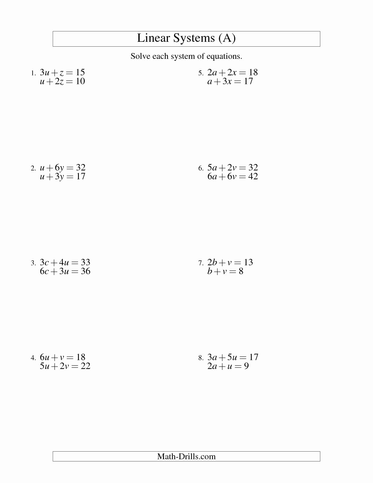 Systems Of Equations Worksheet Unique 15 Best Of Systems Equations Worksheets Printing