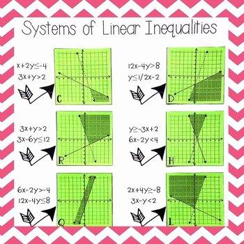 Systems Of Inequalities Worksheet Elegant Systems Of Inequalities Matching Systems and Graphs