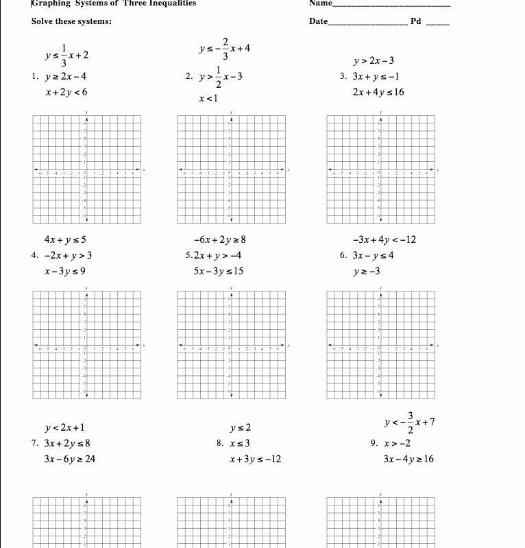Systems Of Inequalities Worksheet Fresh Systems Inequalities Worksheet
