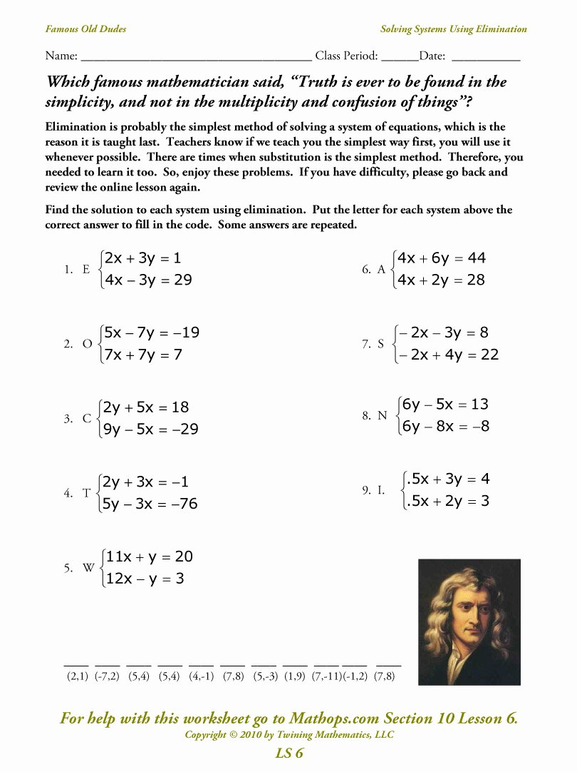 Systems Of Linear Equations Worksheet Elegant Ls 6 solving Systems Using Elimination Mathops