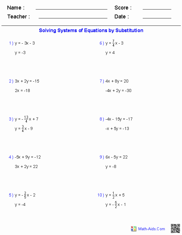 Systems Of Linear Equations Worksheet Elegant solving Two Variable Systems Of Equations Worksheets