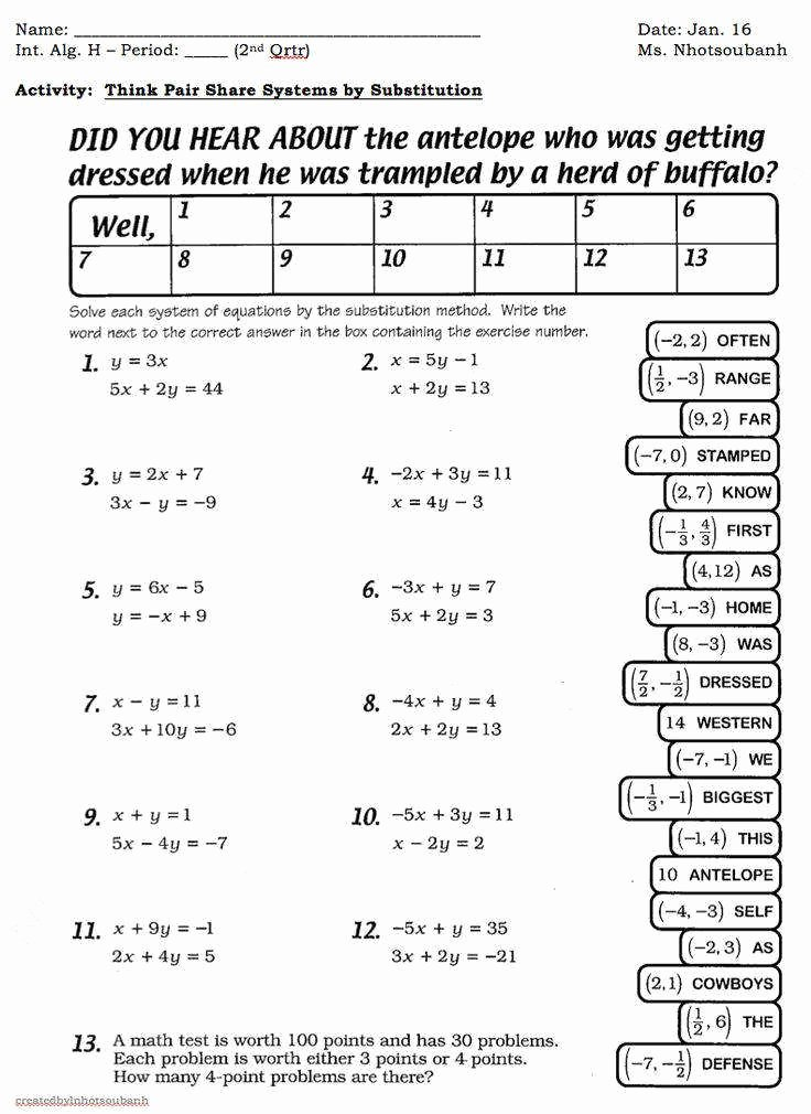 Systems Of Linear Equations Worksheet Elegant Systems Linear Equations Worksheet
