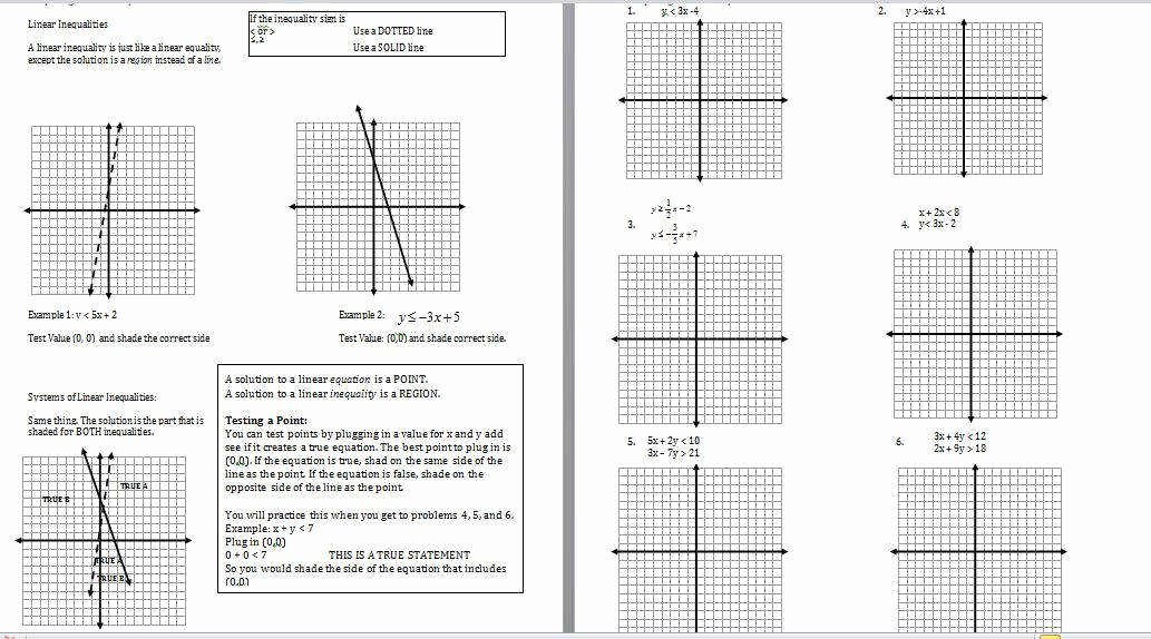 Systems Of Linear Inequalities Worksheet Elegant Systems Inequalities Worksheet