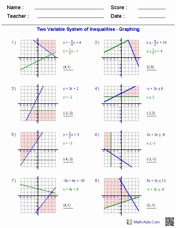 Systems Of Linear Inequalities Worksheet Luxury Graphing Linear Inequalities Worksheet