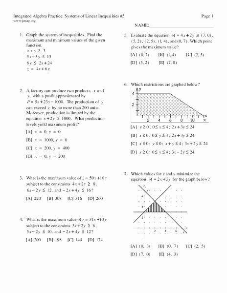 Systems Of Linear Inequalities Worksheet New Systems Of Linear Inequalities 5 Worksheet for 9th 12th