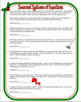 Systems Word Problems Worksheet Beautiful Seasonal Systems Of Equations Word Problems Christmas
