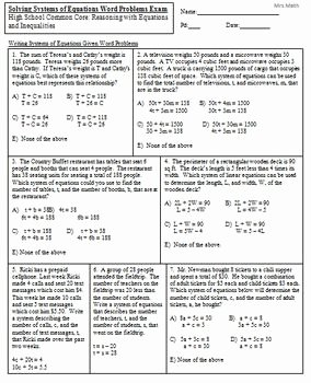 Systems Word Problems Worksheet Beautiful solve Systems Of Equations Given Word Problems Exam Mrs