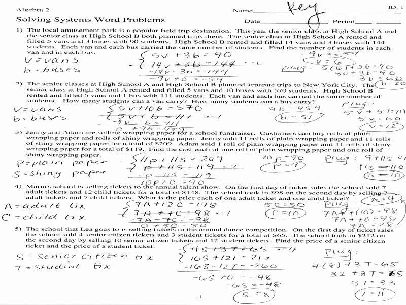 Systems Word Problems Worksheet Luxury Systems Equations Word Problems Worksheet Algebra 1 the