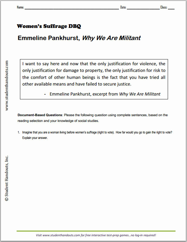 "Teddy Roosevelt Square Deal Worksheet Fresh Emmeline Pankhurst ""why We are Militant"" Free Printable"