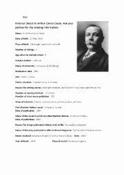 Teddy Roosevelt Square Deal Worksheet Lovely Sir Arthur Conan Doyle´s Biography Gap Fill asking