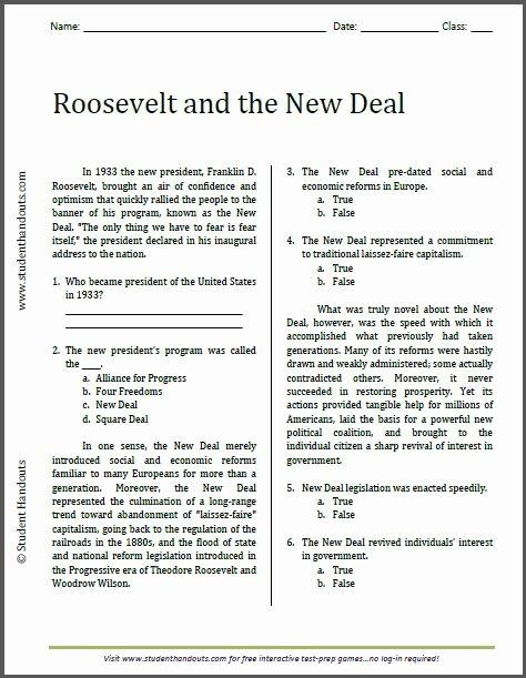 Teddy Roosevelt Square Deal Worksheet Luxury Roosevelt and the New Deal Reading Worksheet