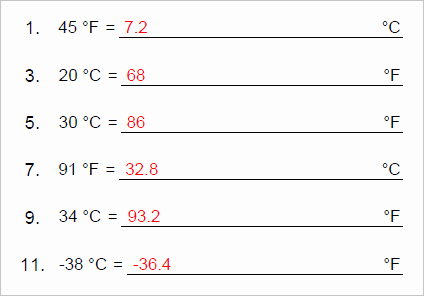 Temperature Conversion Worksheet Answer Key Unique New In Version 6