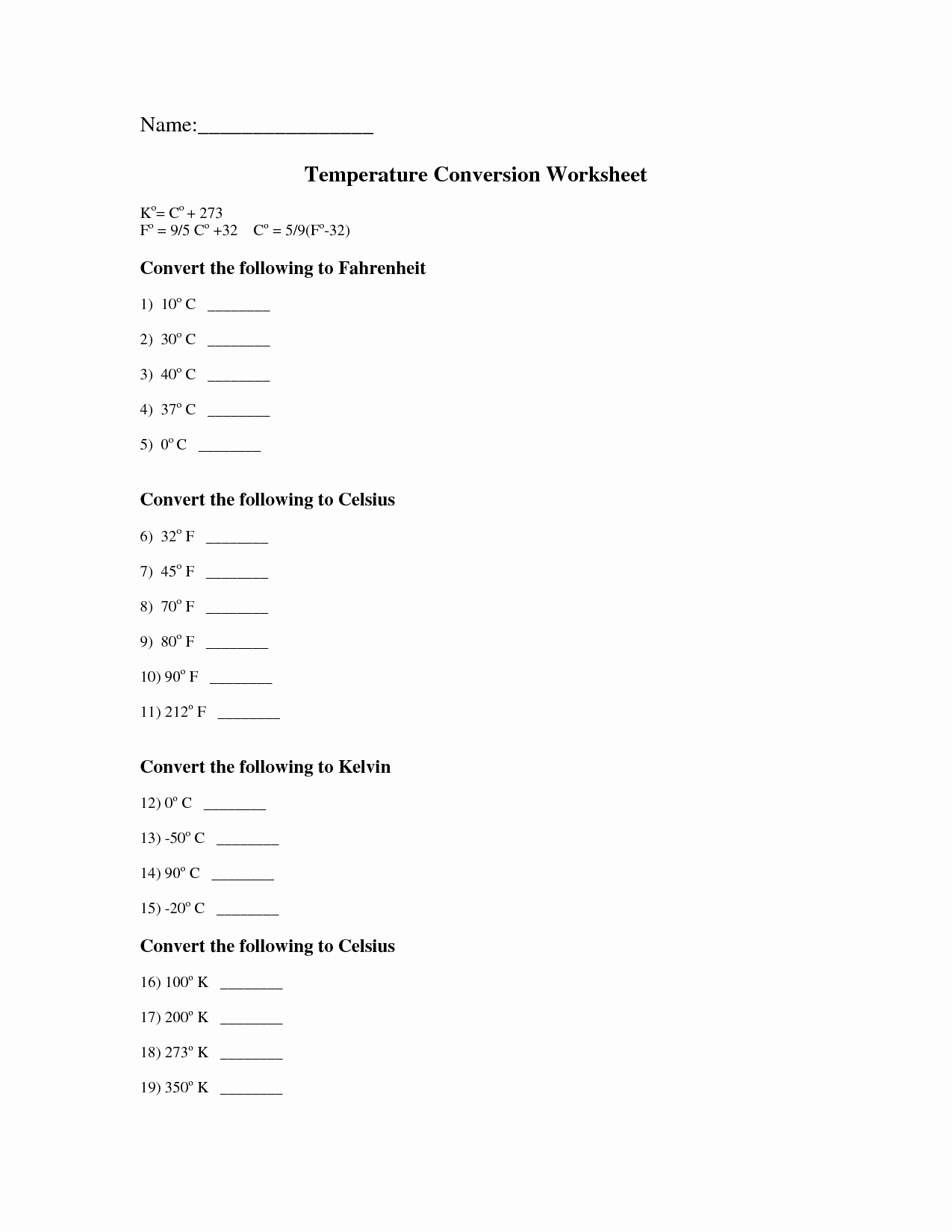 Temperature Conversion Worksheet Answers Elegant Worksheet Answers to Build A Fire