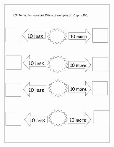 Ten More Ten Less Worksheet Awesome 10 More and 10 Less Differentiated by Laurenstuart
