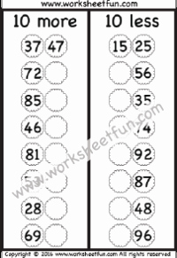 Ten More Ten Less Worksheet Best Of Addition Subtraction – 10 More 10 Less Free Printable