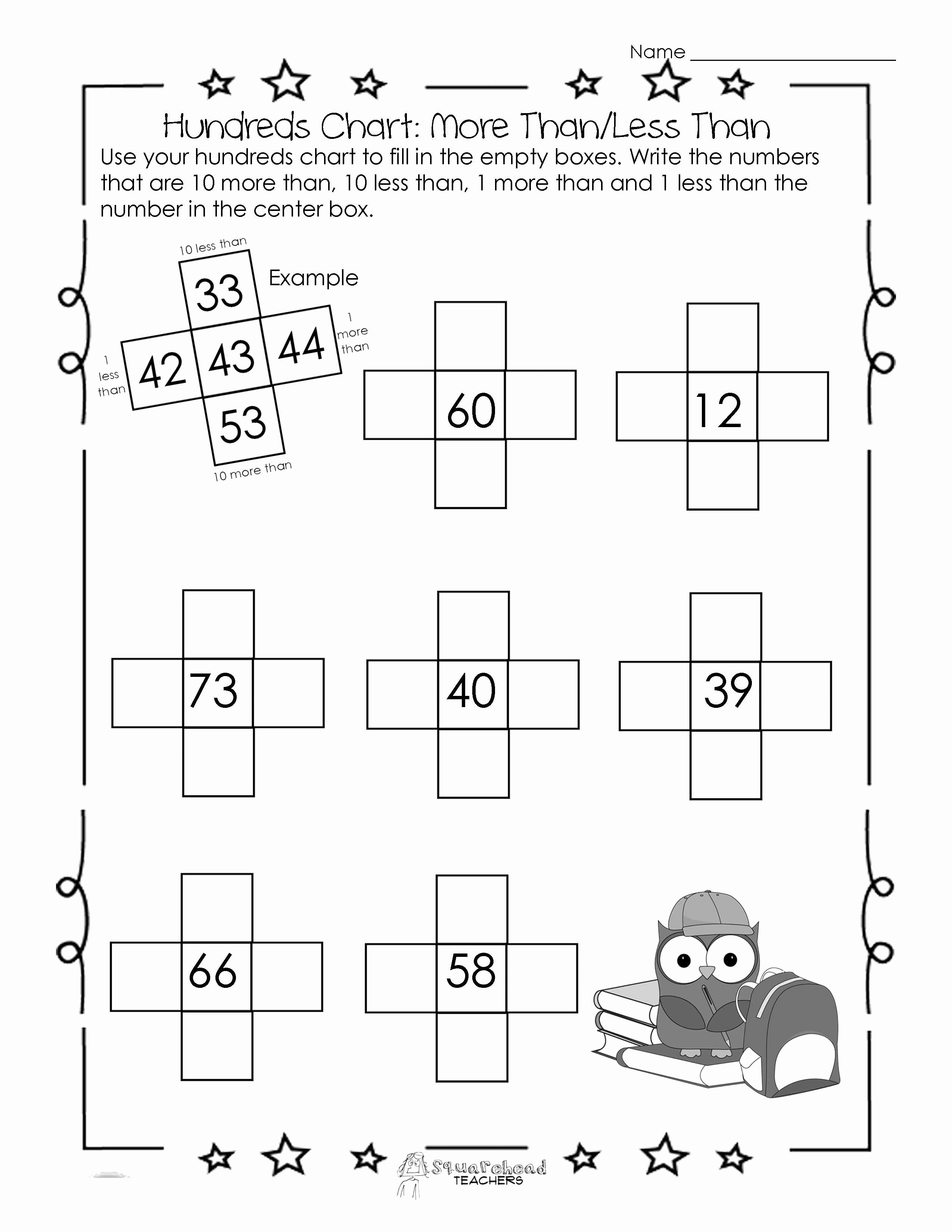 Ten More Ten Less Worksheet Inspirational Hundreds Chart Worksheet 10 More Than 10 Less Than