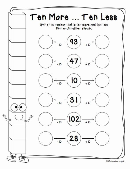 "Ten More Ten Less Worksheet New Practice ""ten More"" and ""ten Less"" with This Place Value"