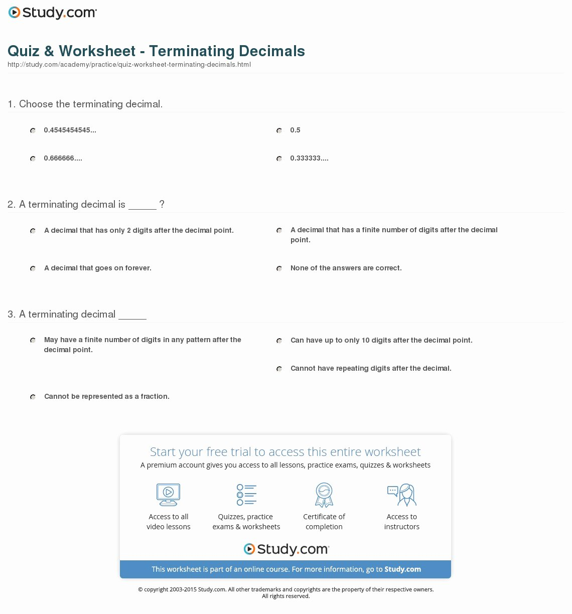 Terminating and Repeating Decimals Worksheet Beautiful Quiz & Worksheet Terminating Decimals