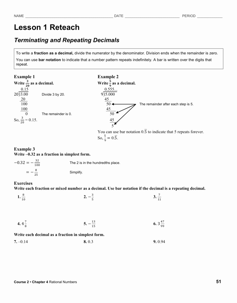 Terminating and Repeating Decimals Worksheet Elegant Reteach Worksheet