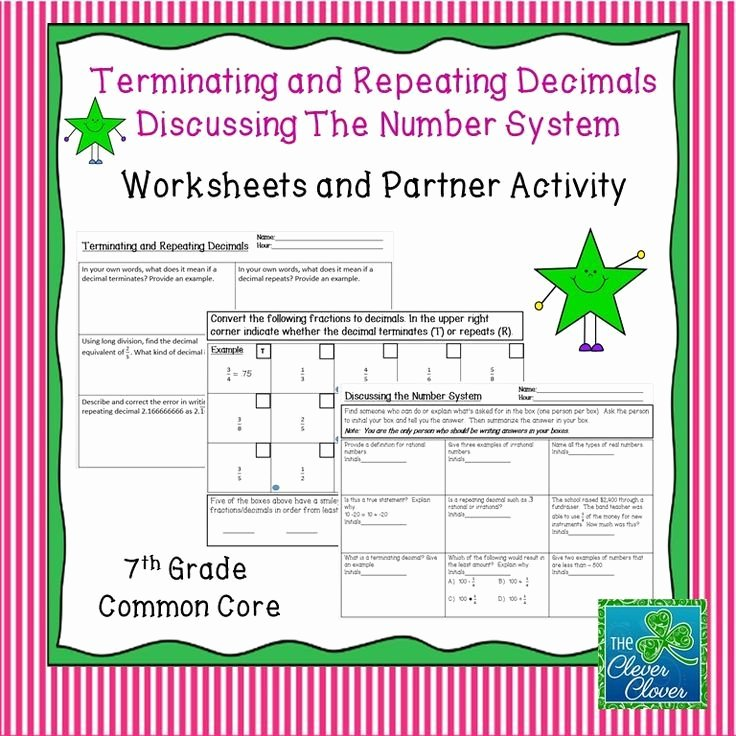 Terminating and Repeating Decimals Worksheet Elegant Terminating and Repeating Decimals Worksheets and Partner