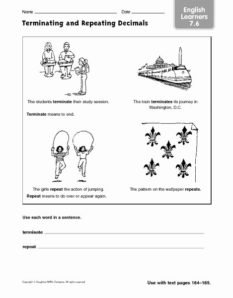 Terminating and Repeating Decimals Worksheet Elegant Terminating Decimal Lesson Plans & Worksheets Reviewed by