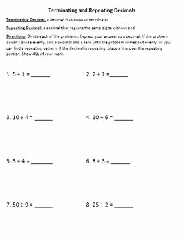 Terminating and Repeating Decimals Worksheet Fresh Terminating & Repeating Decimals and Word Problems to