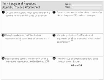 Terminating and Repeating Decimals Worksheet New Terminating and Repeating Decimals Worksheets and Partner