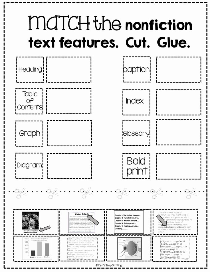 Text Features Worksheet 2nd Grade Awesome Free Nonfiction Text Features Matching Activity