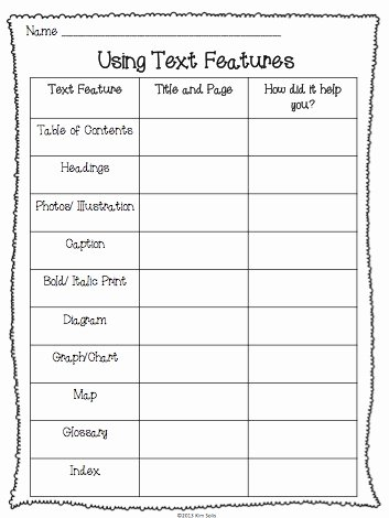 Text Features Worksheet 2nd Grade Best Of Non Fiction Text Features Study Plus A Few Freebies