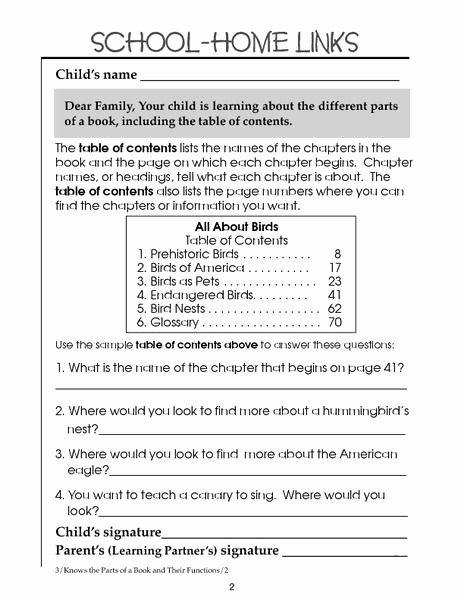 Text Features Worksheet 2nd Grade Fresh Table Contents 2nd 3rd Grade Worksheet Lesson Pla