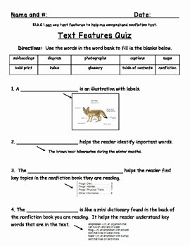 Text Features Worksheet 2nd Grade Luxury Freebie Text Features Quiz by Cassie Carr