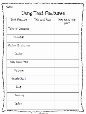 Text Features Worksheet 2nd Grade Unique Non Fiction Text Features Study Plus A Few Freebies