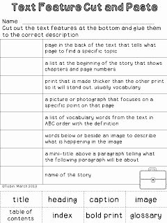 Text Features Worksheet 3rd Grade Best Of Nonfiction Detectives Text Feature Cut and Paste Activity