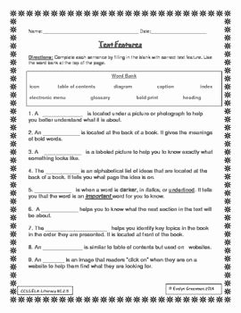 Text Features Worksheet 3rd Grade Best Of This is A Fill In the Blank assessment On Text Features