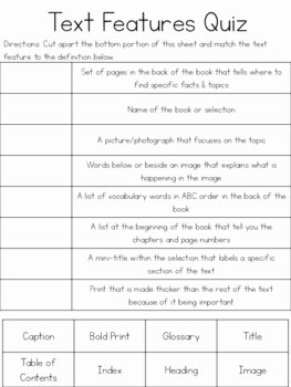 Text Features Worksheet 3rd Grade Elegant Text Features Cut & Paste Quizzes by Kmwhyte S Kreations