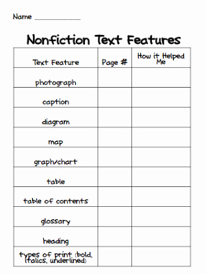 Text Features Worksheet 3rd Grade New Nonfiction Text Features Freebie