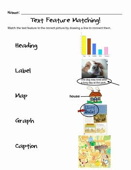 Text Features Worksheet 3rd Grade New Text Feature Matching Ccss Ela Literacy Rl 1 5 Ccss Ela