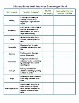 Text Features Worksheet Pdf Beautiful Informational Text Features Scavenger Hunt by Higher