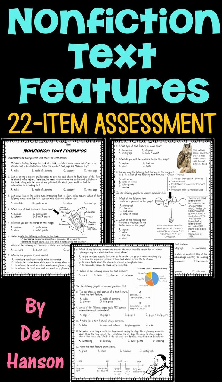 Text Features Worksheet Pdf Best Of Nonfiction Text Feature assessment or Worksheet