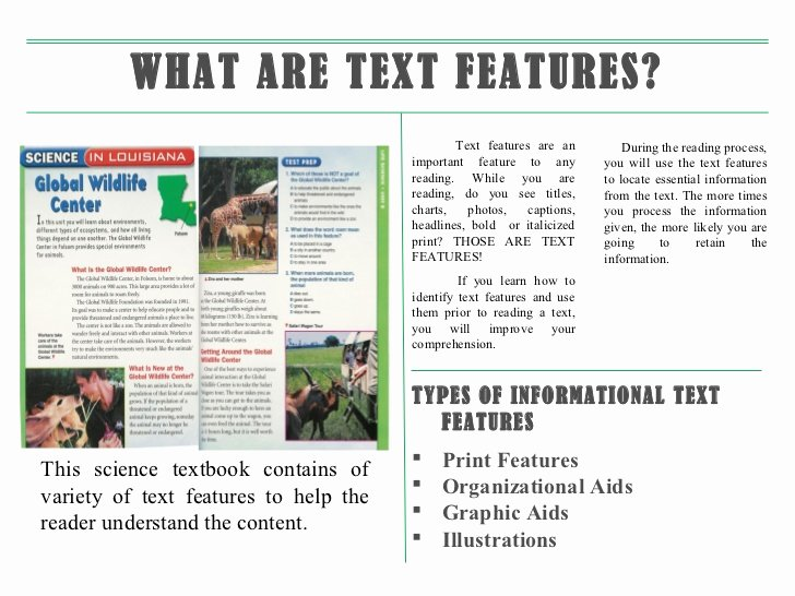 Text Features Worksheet Pdf Fresh Information Text Features Ppt