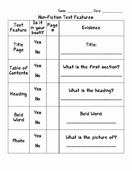 Text Features Worksheet Pdf Fresh Non Fiction Text Features Graphic organizer by Amber Daige