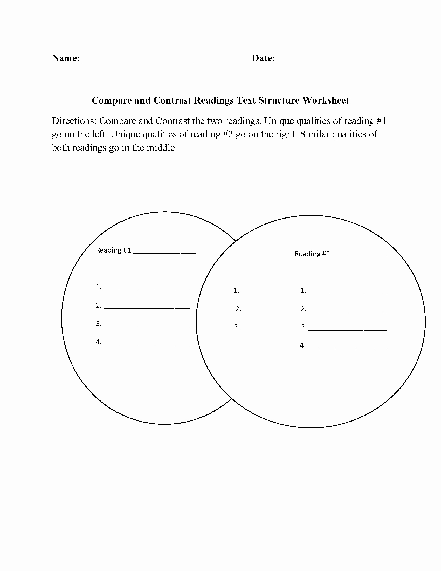 Text Structure Worksheet 4th Grade Best Of Pare and Contrast Readings Text Structure Worksheet