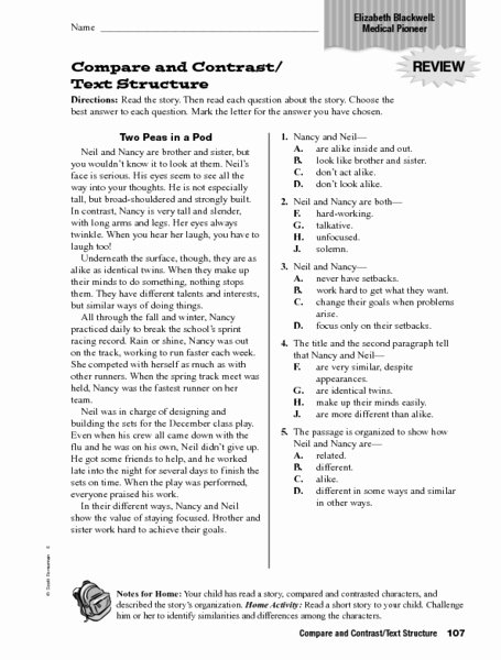 Text Structure Worksheet 4th Grade Elegant Pare and Contrast Text Structure Worksheet for 4th