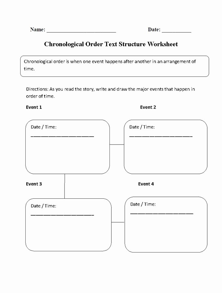 Text Structure Worksheet 4th Grade Luxury Chronological order Text Structure Worksheet