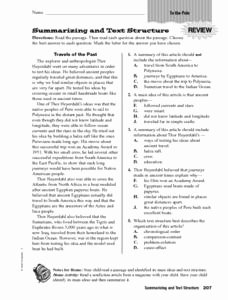 Text Structure Worksheet 4th Grade New Summarizing and Text Structure Worksheet for 4th 6th