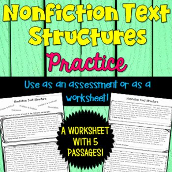 Text Structure Worksheet Pdf Awesome Informational Text Structure Worksheet by Deb Hanson