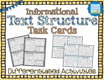 Text Structure Worksheet Pdf Fresh Informational Text Structures Task Cards by Teaching with