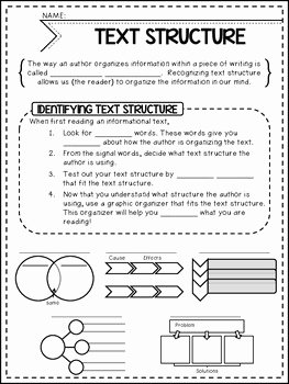 Text Structure Worksheet Pdf Unique Informational Text Structures Guided Notes